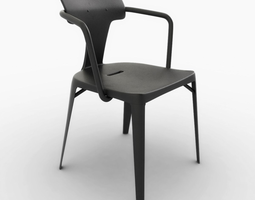 tolix t14 stainless steel chair 3d model low-poly