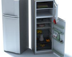 3D Silver Color Refrigerator