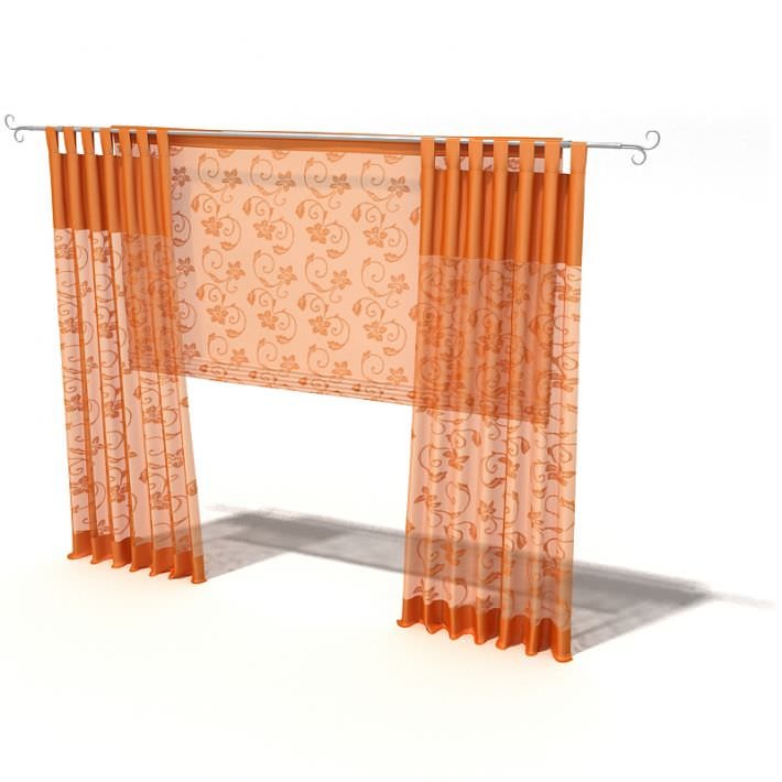 orange floral patterned curtains 3d model