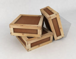 Stacked wooden crates for warehouse 3D model