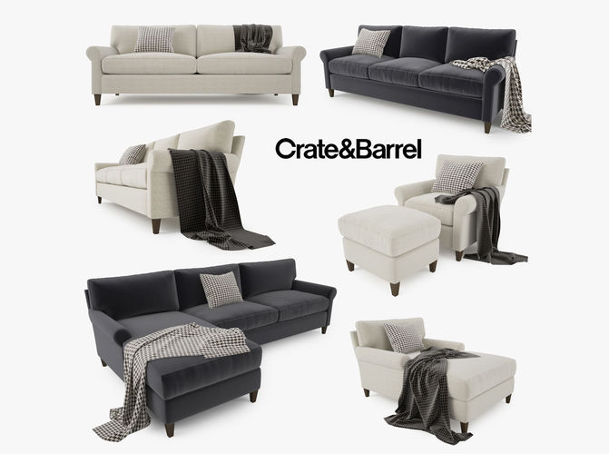 Genial Crate And Barrel Montclair Sofa Collection 3D Model