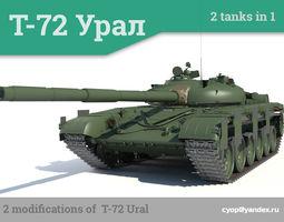 t-72 ural russian main battle tank 2 tanks in 1 3d model