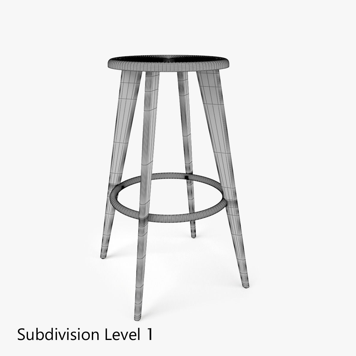 vitra tabouret haut bar stool 3d model max obj fbx mtl. Black Bedroom Furniture Sets. Home Design Ideas