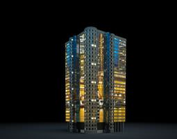 3D model Short Lit Skyscraper