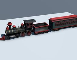 Low Poly Steam Engine Train 3D Model