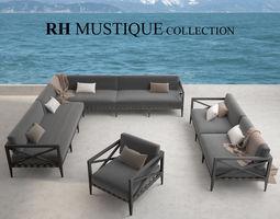 restoration hardware mustique sofa collection 3d