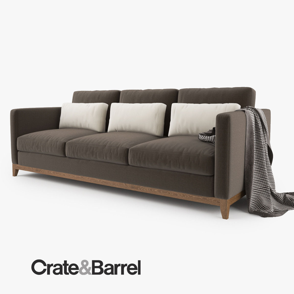 ... crate and barrel taraval 3 seat sofa 3d model max obj fbx mtl 5 ...