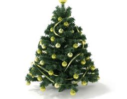 3d model artificial christmas tree with decorations