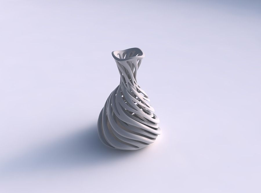 Vase taper squeezed neck with intertwining lines very twisted...