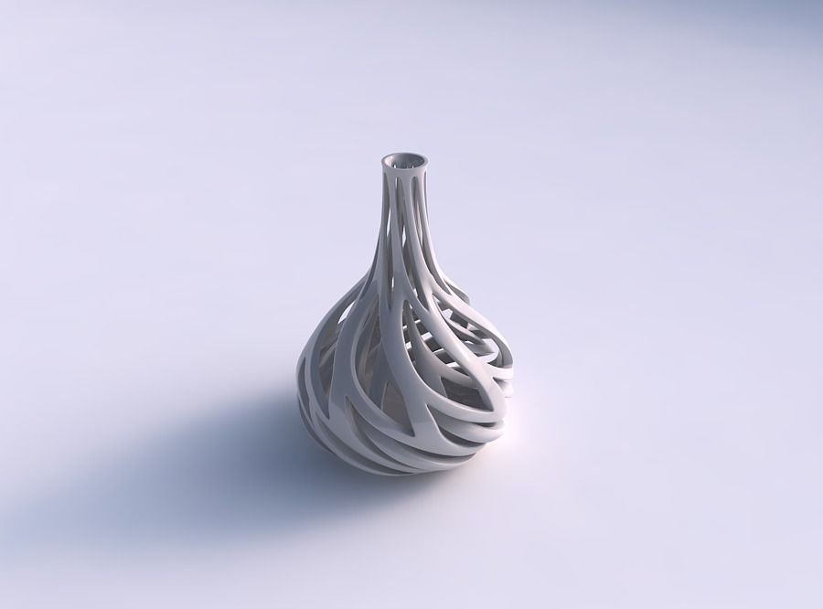 Vase taper squeezed neck with two layerd lattice twisted and ...