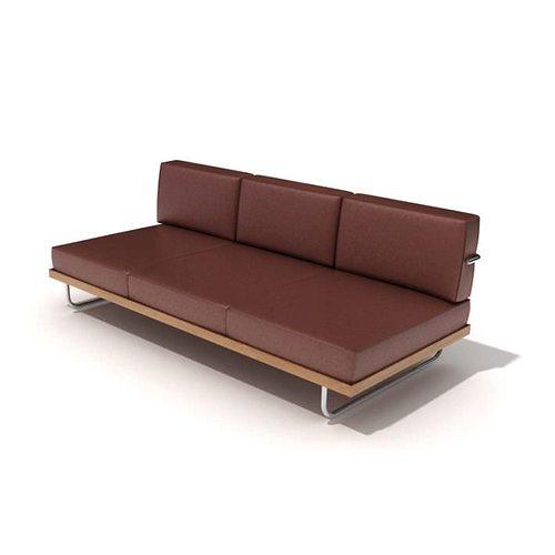 three seat brown leather sofa 3d model  1
