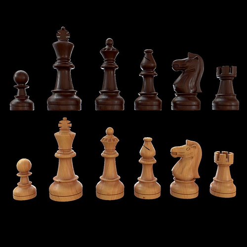 staunton chess set - updated 3d model obj mtl fbx blend 1