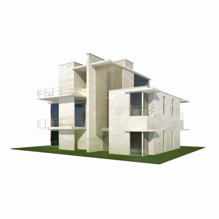 Modern house building 3d model House 3d model