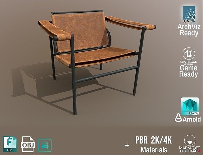 Chair Thonet Le Corbusier PBR - Worn Leather - ArchViz Game