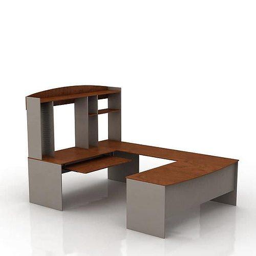 Modern Wooden Office Desk 3D Model OBJ