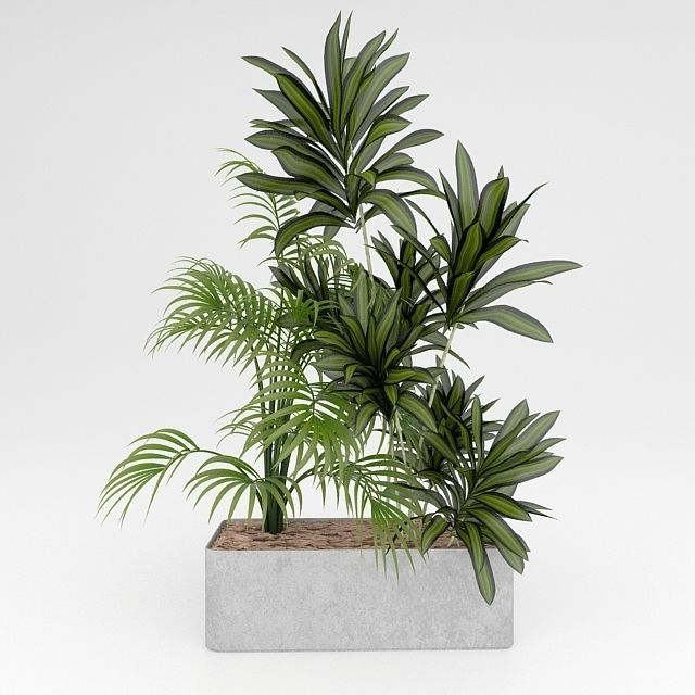 Indoor planter box set 3D model SW1