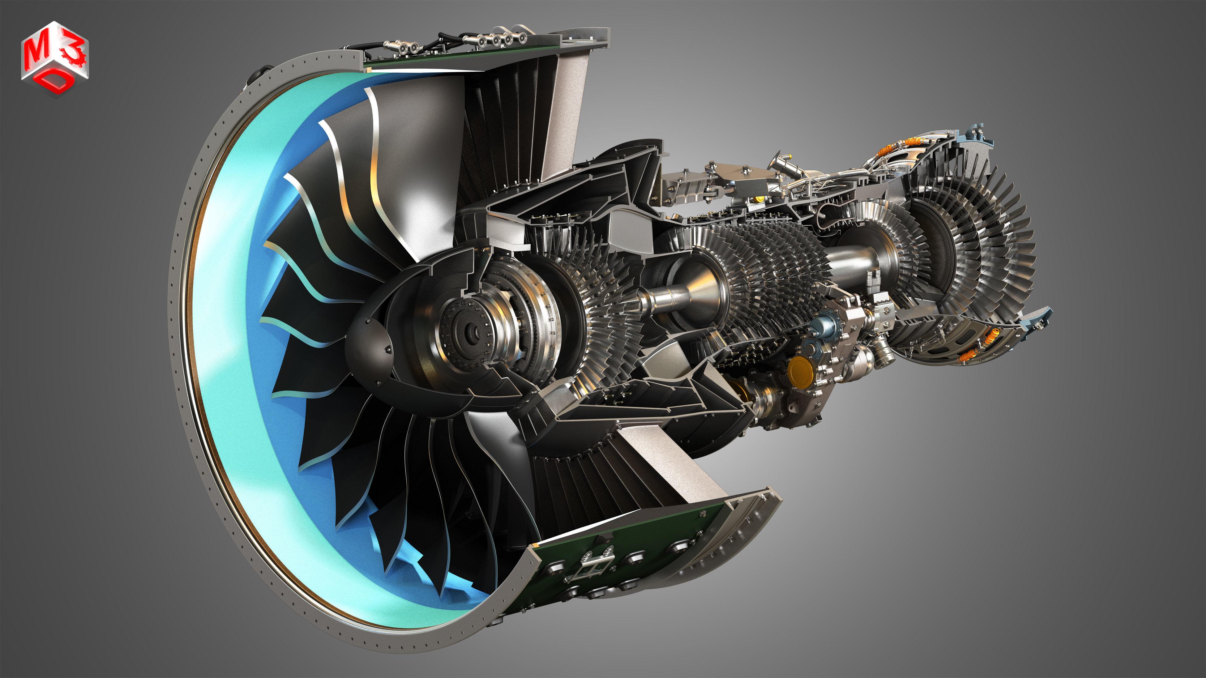 PW GTF Geared Turbofan Engine - Cutaway