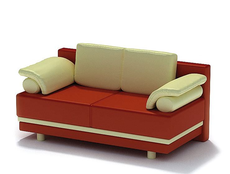 Red And White Modern Sofa 3d Model