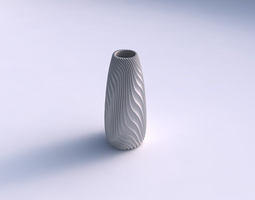 Vase Bullet with wavy extruded lines 3 3D Model