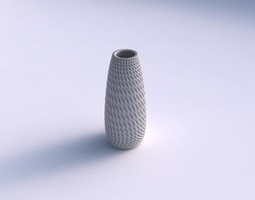 3d print model vase bullet with bent extruded pattern