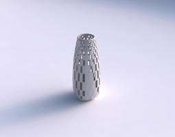 Vase Bullet with checker grid lattice 2 3D Model