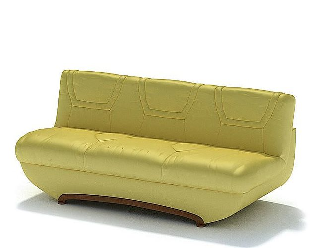 Retro Yellow Leather Couch 3d Cgtrader