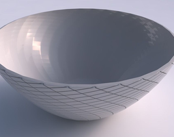 Bowl wide with diagonal grid plates 3D printable model