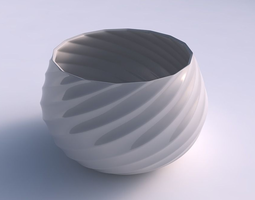 bowl squeezed twisted with bands 3d printable model