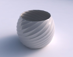 bowl spheric with twisted bands 3d print model
