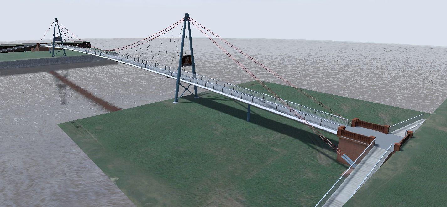 Walkway bridge 3d low-poly model
