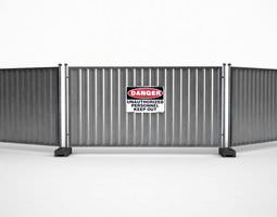 metal industrial construction barricade fence 3d