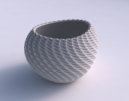 bowl compressed 2 with bent extruded pattern 3d print model
