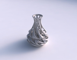 3d print model vase curved narrow mid with intertwining lines twisted and tapered 2
