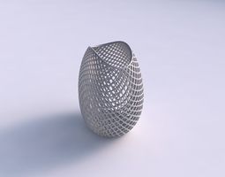 3d printable model bowl compressed with fine diagonal grid lattice