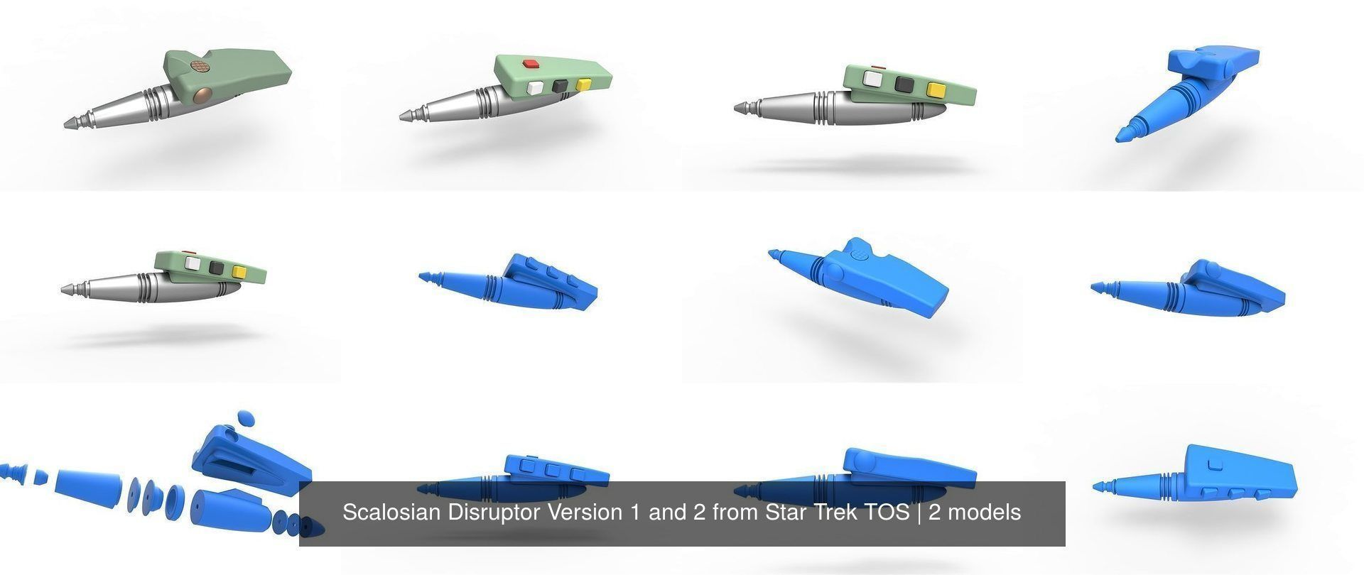 Scalosian Disruptor Version 1 and 2 from Star Trek TOS