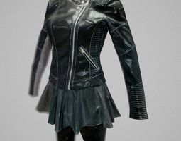 All black Womans leather outfit 3D Model