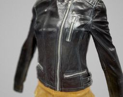 Golden Skirt and Leather Jacket 3D Model