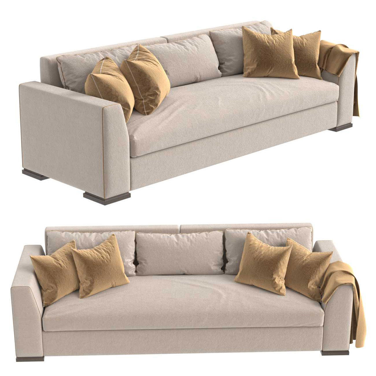 Custom three seat sofa in beige upholstery