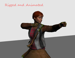 VR / AR ready 3d model fantasy archer girl rigged and animated low-poly game ready