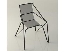 Lattice iron frame chair 3D model