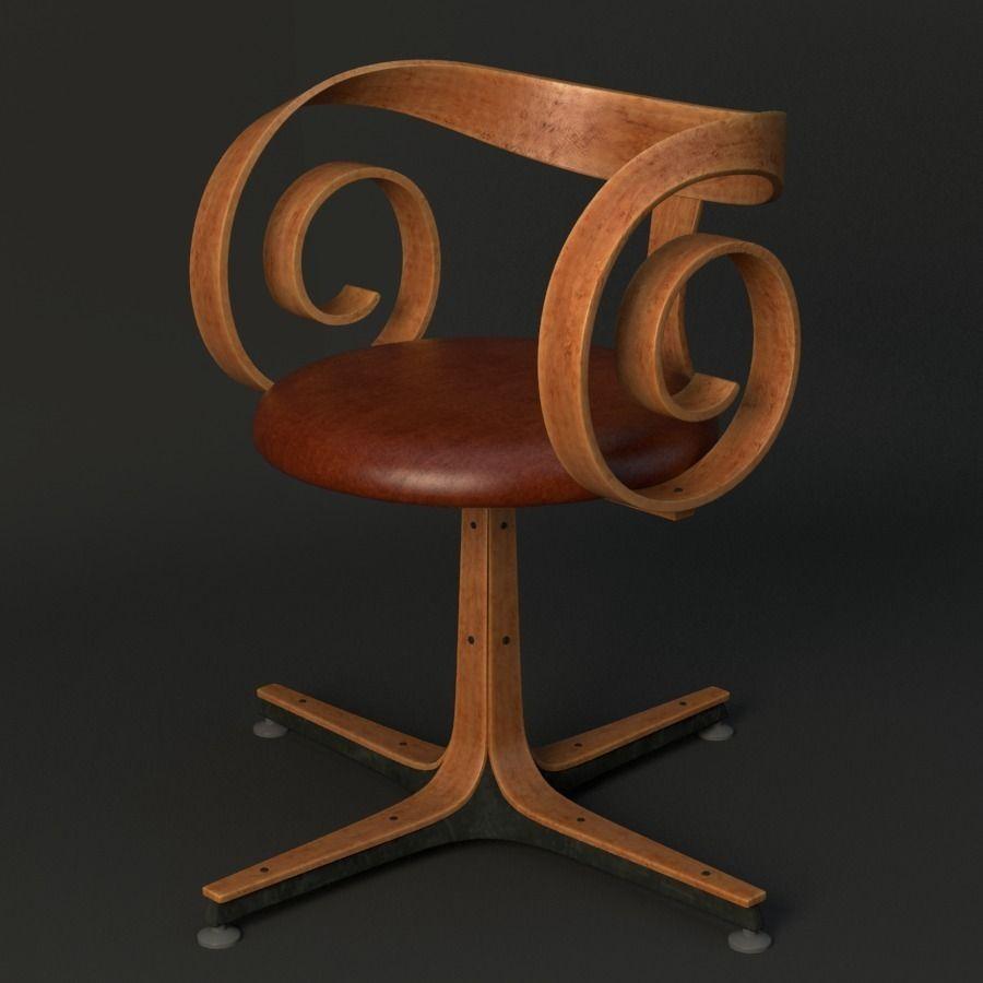 Superieur Pair George Mulhauser Plycraft Desk Chairs 3d Model Max Obj Mtl Fbx Ma Mb 1  ...