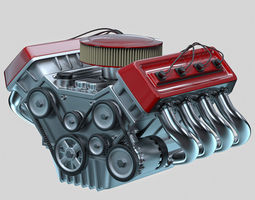 Car engine Animated 3D Model