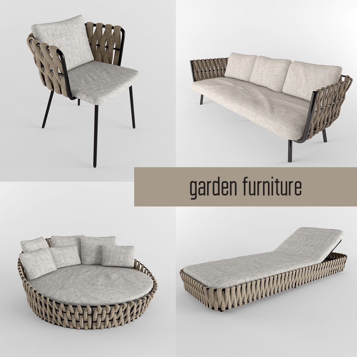 garden furniture collection 3d model max obj fbx 1