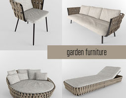 garden furniture collection 3d