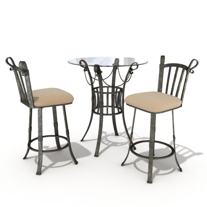 Bistro Set Table And Chairs 3d Model