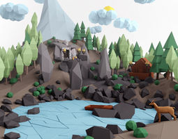 3D asset Low poly lanscape mountain hill tree lake and 1
