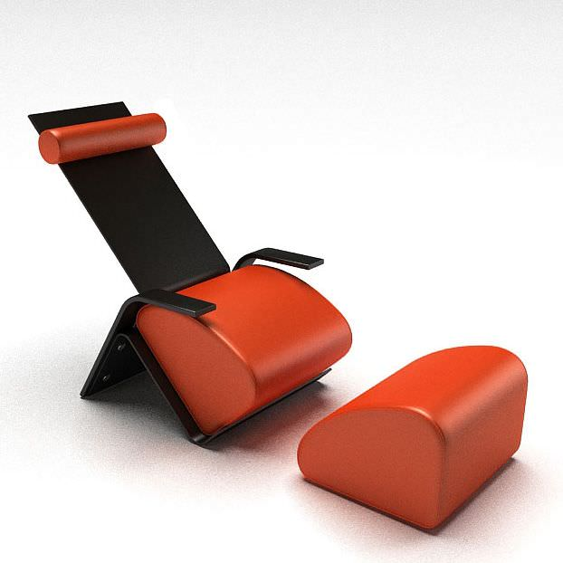 High Quality Chair With Separate Foot Rest 3d Model 1