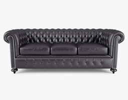 William Blake Sofa Chesterfield Leather Black 3D