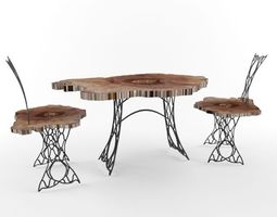 3d  trunk and wrought iron table and chairs