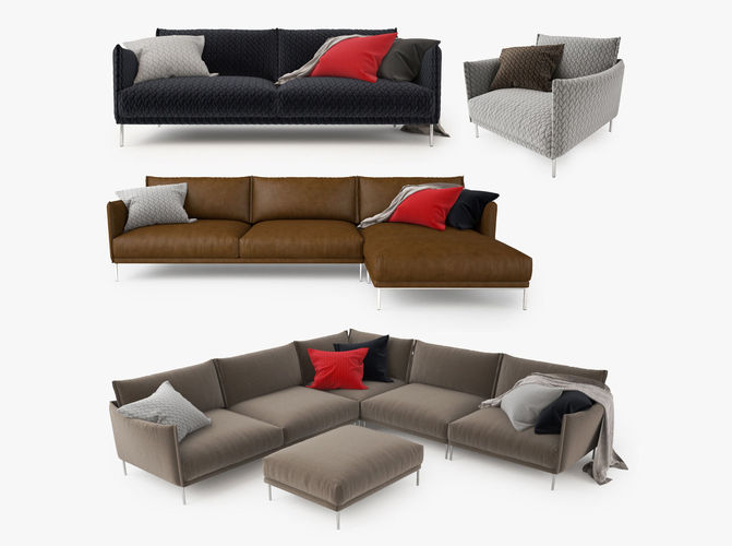 moroso gentry sofa collection 3d model max obj fbx mtl tga 1
